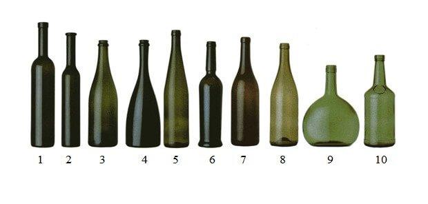 forme delle bottiglie per il vino